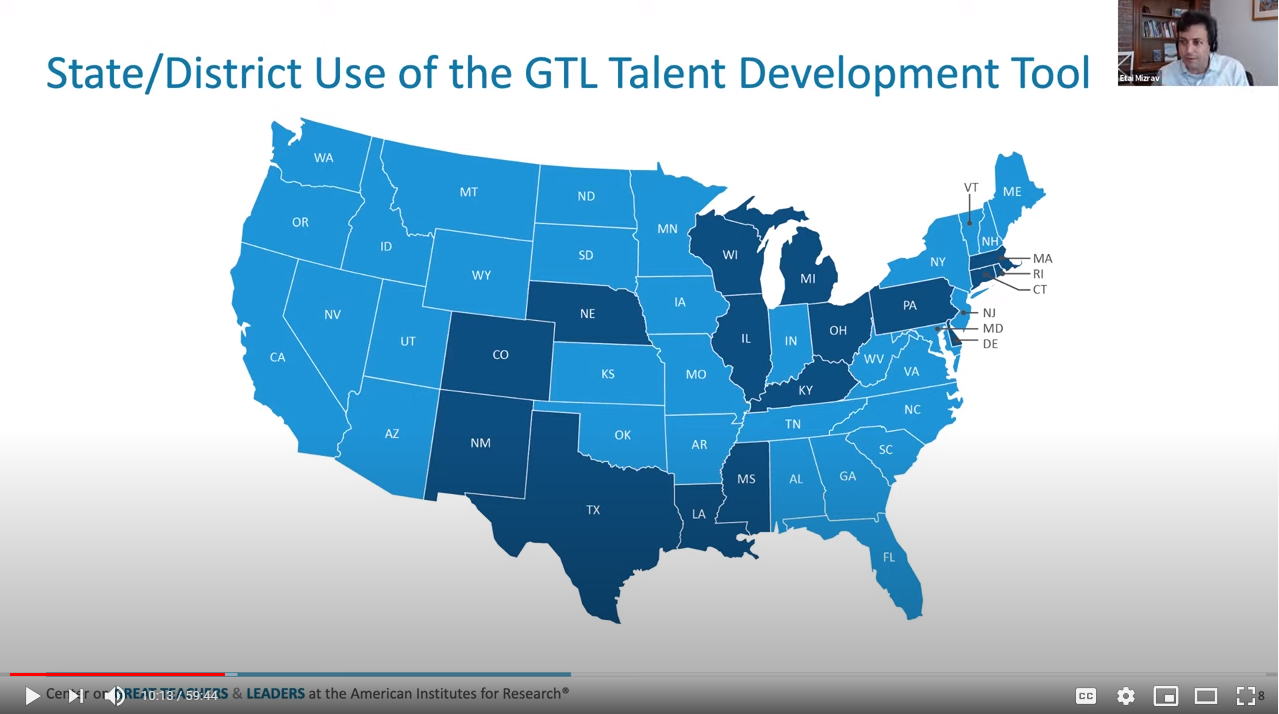 Slide from webinar showing states currently using GTL Center Data Tool