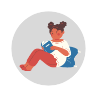 Student reading a book--illustration