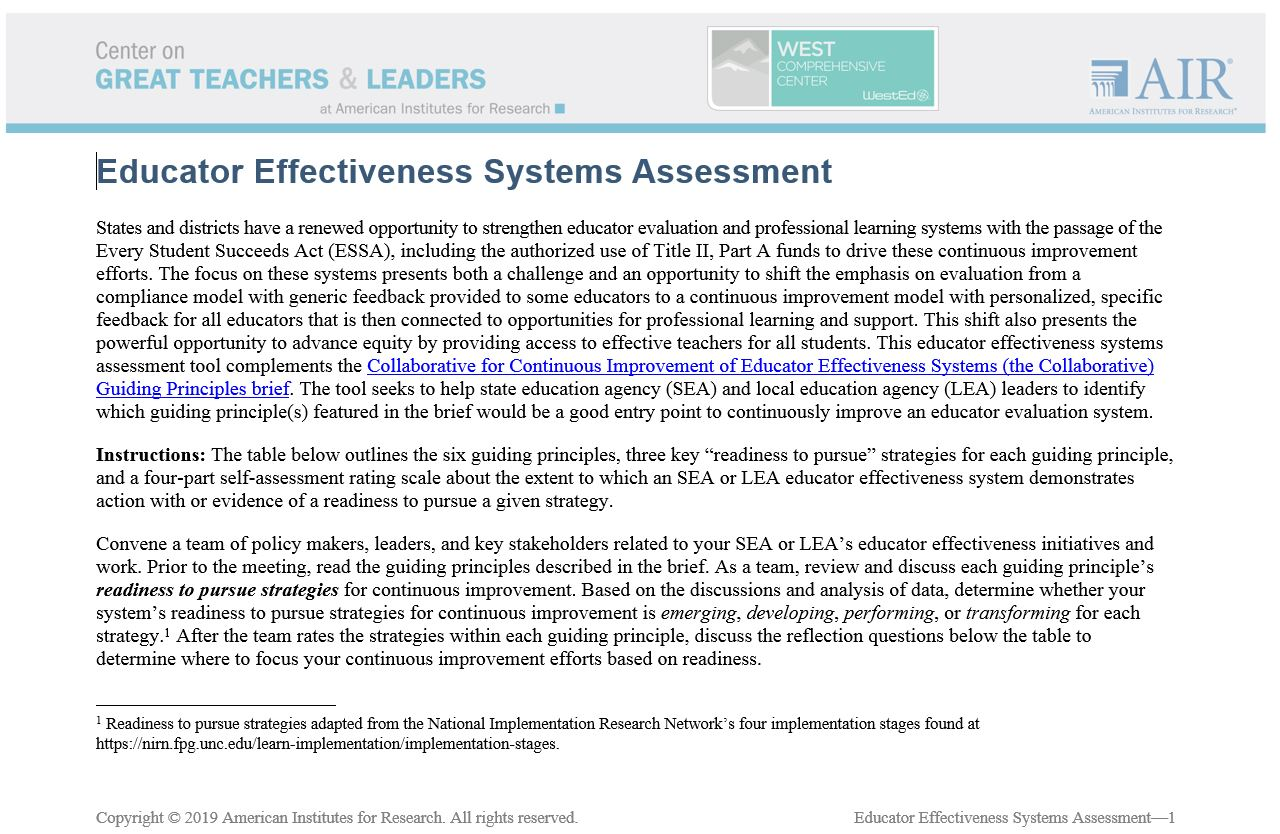 Educator Effectiveness Systems Self-Assessment Tool