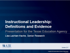 Instructional Leadership: Definitions and Evidence