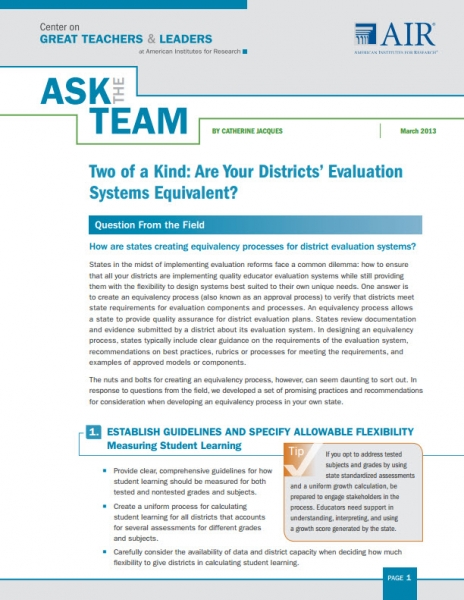 Two of a Kind:  Are Your Districts' Evaluation Systems Equivalent?
