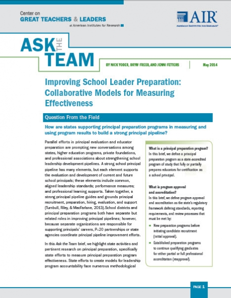 Improving School Leader Preparation