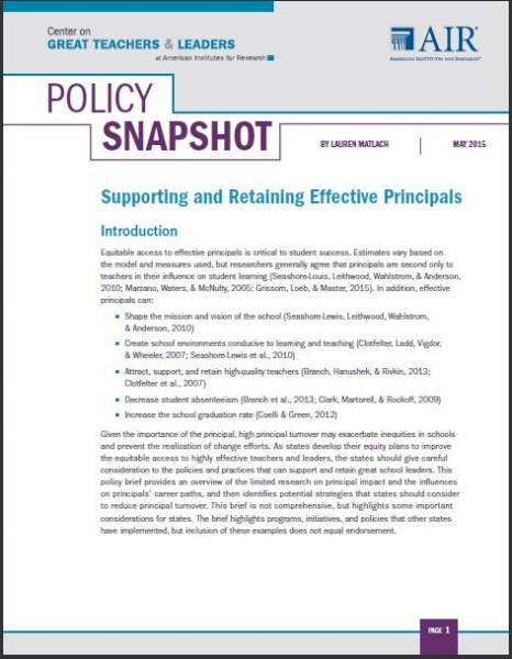 Supporting and Retaining Effective Principals