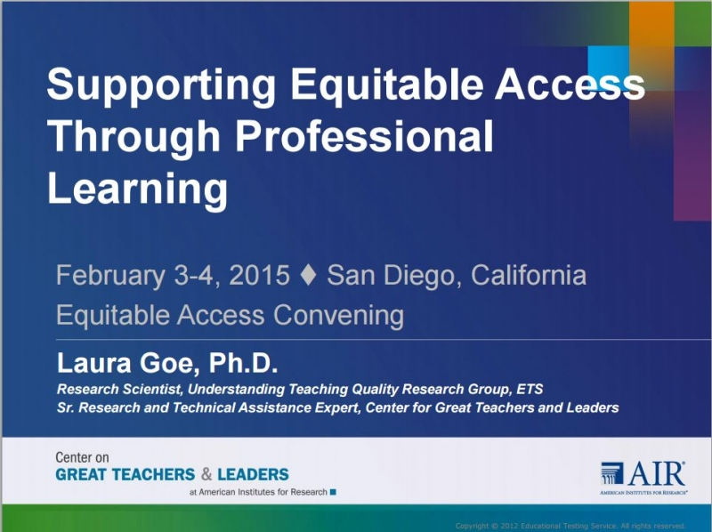 Supporting Equitable Access Through Professional Learning
