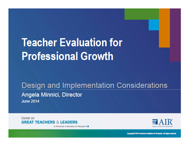Teacher Evaluation for Professional Growth