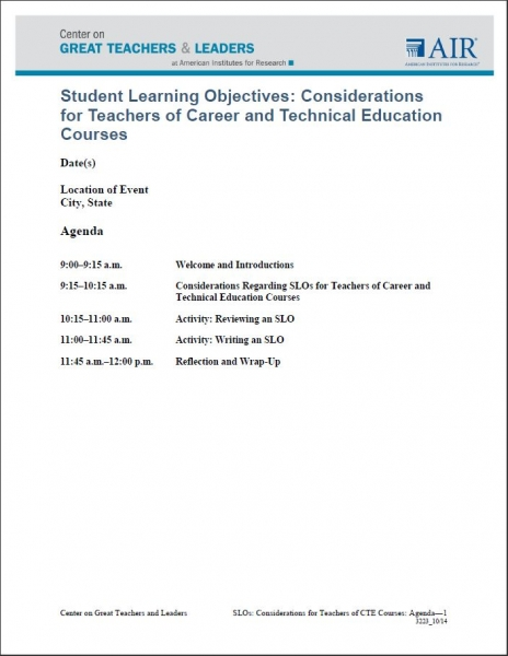 Supplement — Student Learning Objectives: Considerations for ...