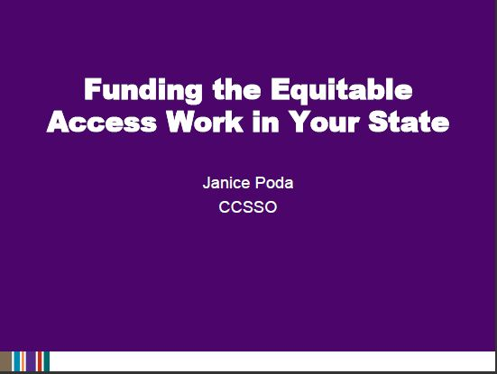 Funding the Equitable Access Work in Your State