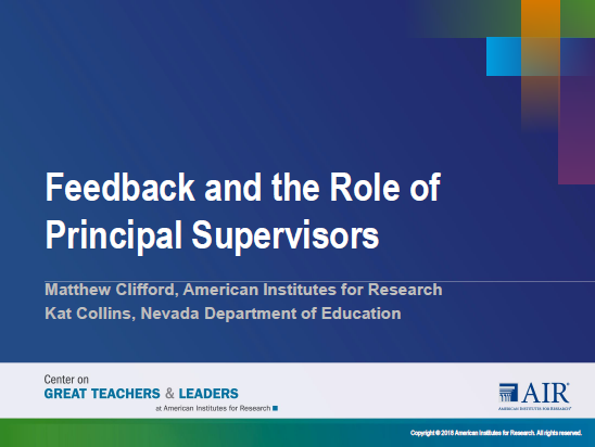 Feedback and the Role of the Principal Supervisors